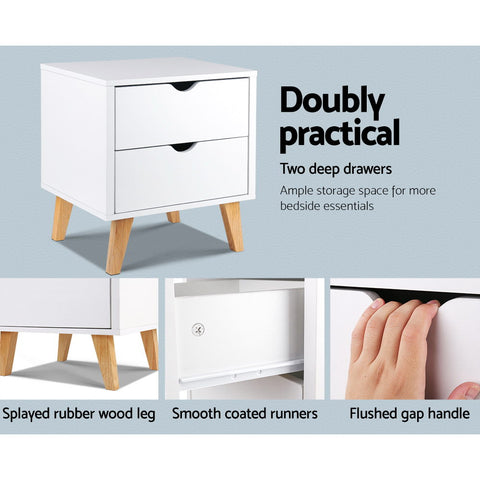 Image of Artiss 2 Drawer Wooden Bedside Tables - White