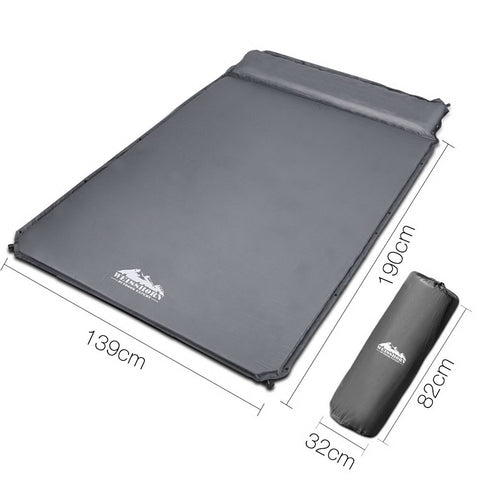 Double Size Self Inflating Mattress - 4cm Thick - Grey