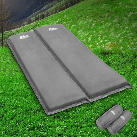 Image of Weisshorn Self Inflating Mattress Camping Sleeping Mat Air Bed Pad Double Grey 10CM Thick