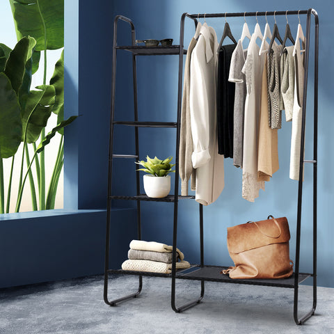 Image of Portable Clothes Rack Garment Hanging Stand Closet Storage Organiser Shelf Home