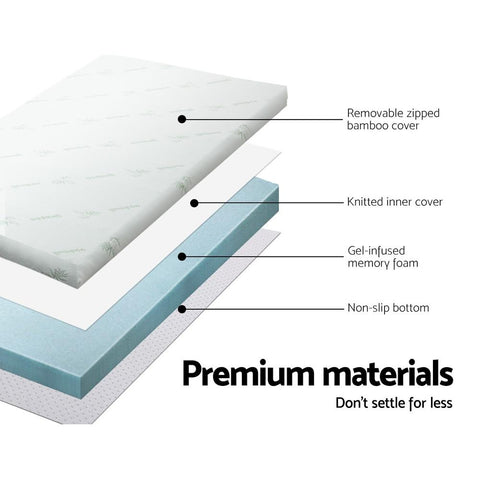 Cool Gel Memory Foam with Bamboo Cover 5cm or 8cm Thick