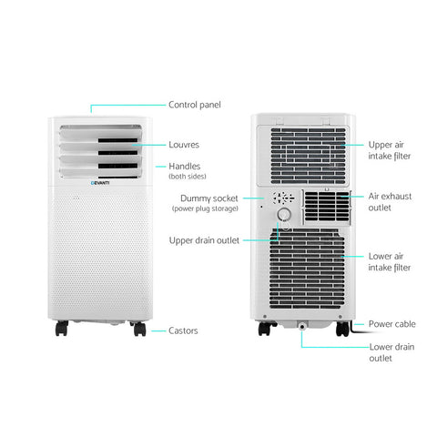 Portable Air Conditioner Fan Dehumidifier - White 2000W