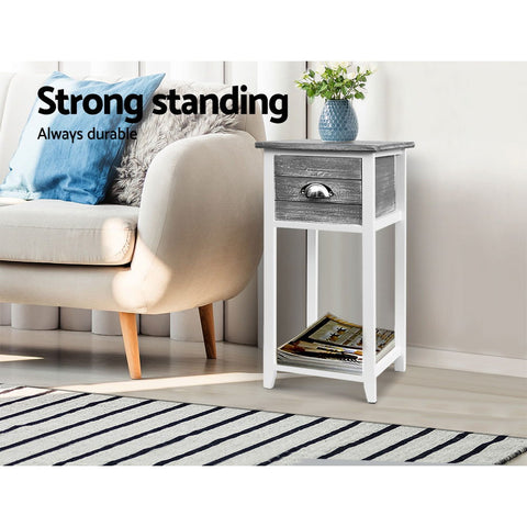 Thyme Bedside Table - Grey