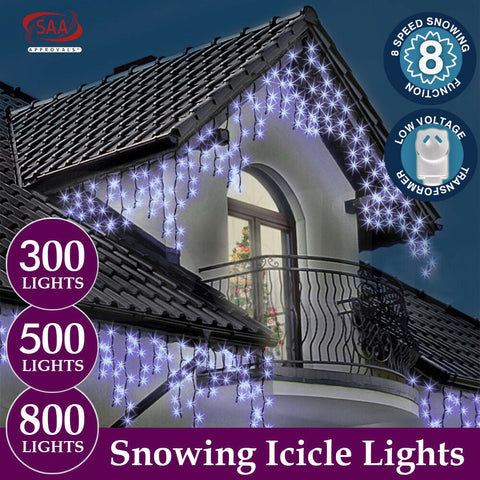 Image of 500 LED Curtain Fairy String Lights Wedding Outdoor Xmas Party Lights Warm White