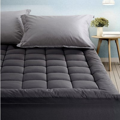 Charcoal Bamboo Pillowtop Mattress Topper Protector 1000GSM