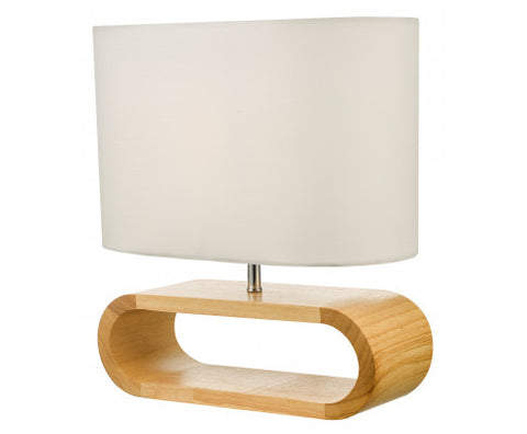 Image of Wooden Modern Table Lamp Timber Bedside Lighting Desk Reading Light Brown White