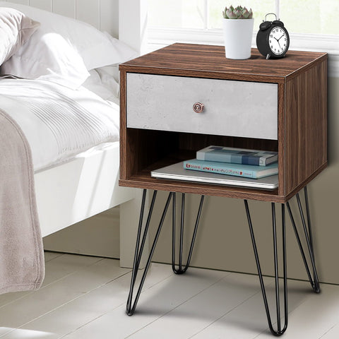 Image of Artiss Bedside Table with Drawer - Grey & Walnut