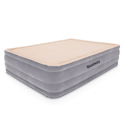 Queen Size Air Bed Inflatable Mattress With Built In Pump - 46cm High - Grey/Beige