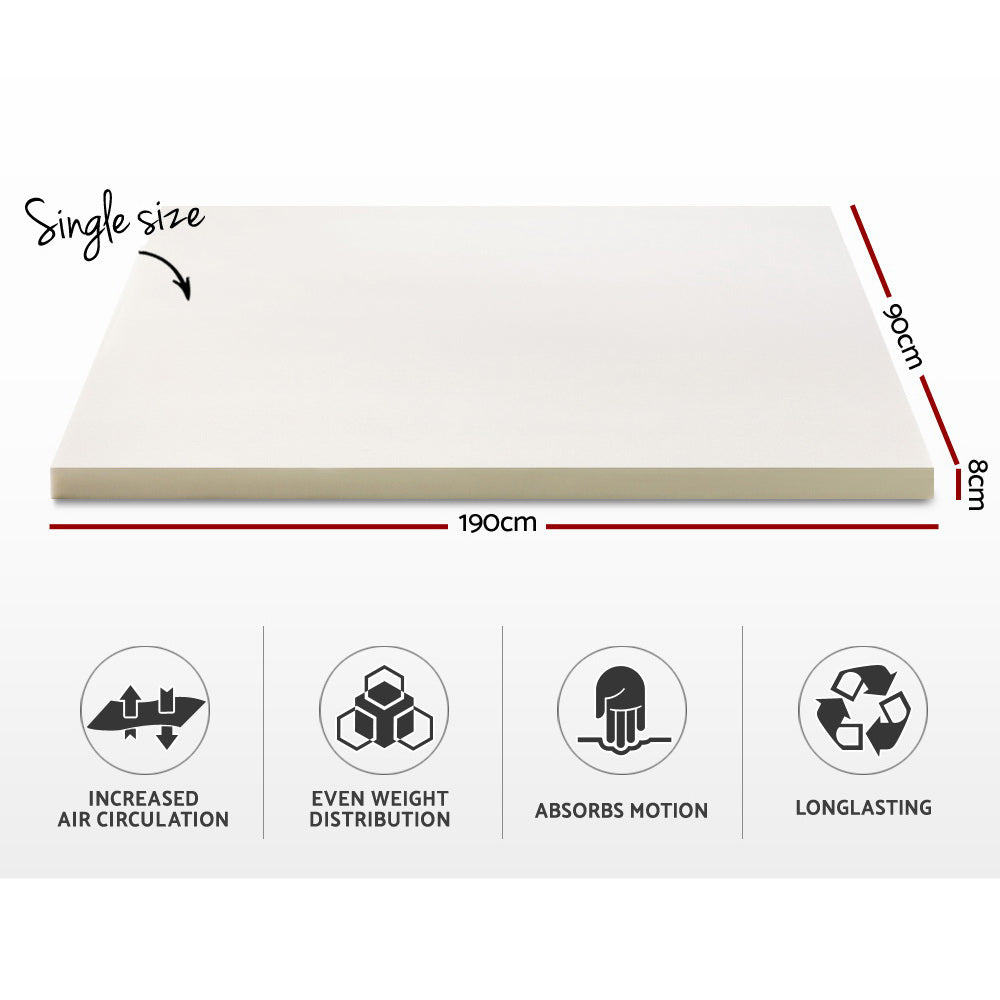 Memory Foam Mattress Topper With Washable Cover 5 7 or 8cm Thick