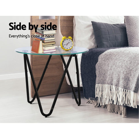 Image of Coffee Table Glass End Side Tables High Gloss Display Modern Furniture 50X50CM
