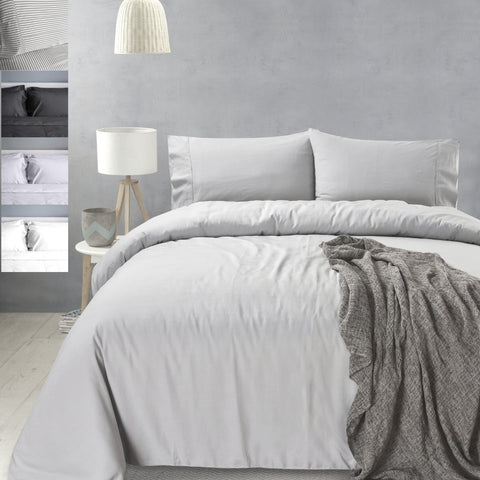 Eastwind 100% Organic Bamboo Doona Quilt Duvet Set - White, Silver, Grey, Stripe