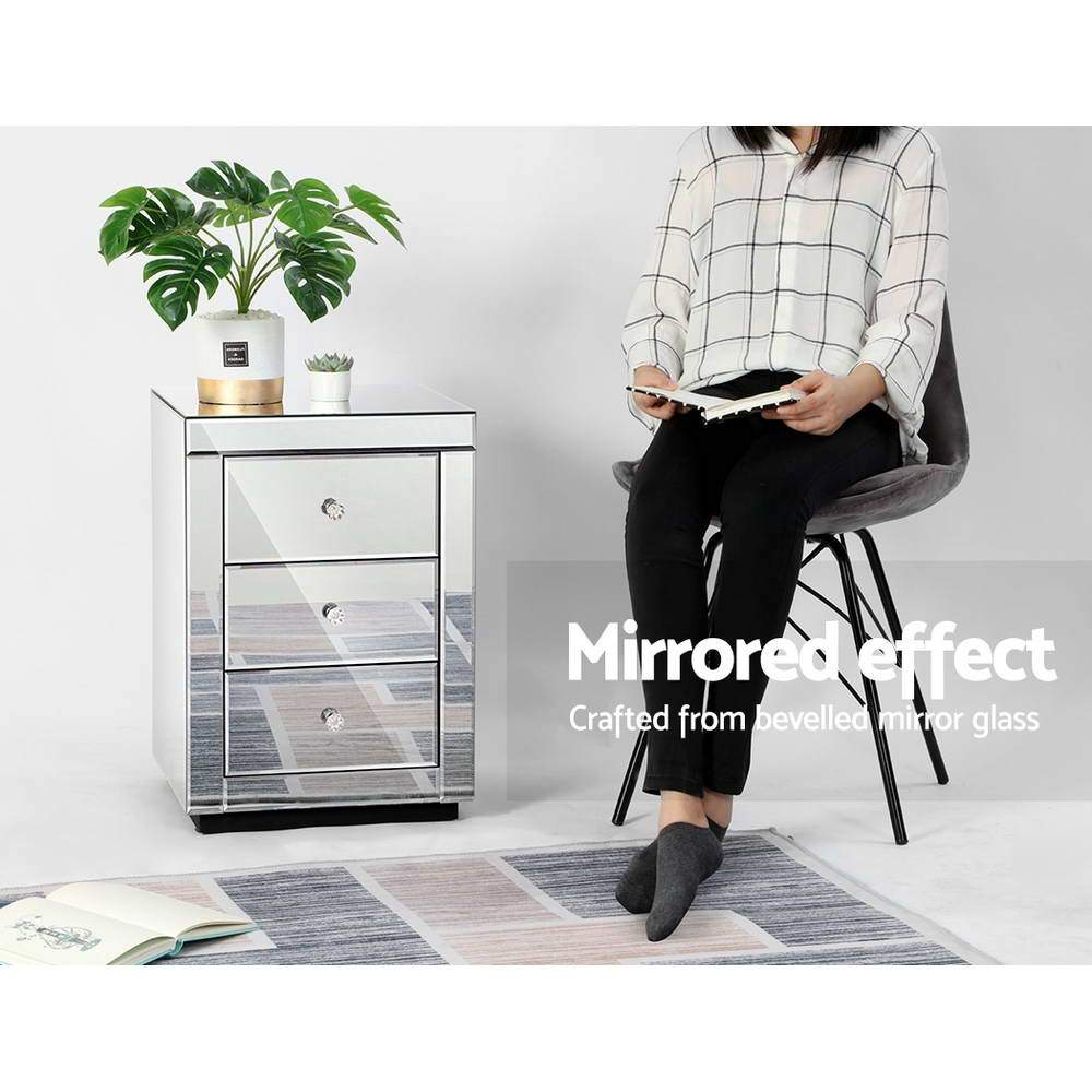 Presia Mirrored Bedside Table - Mirror Glass