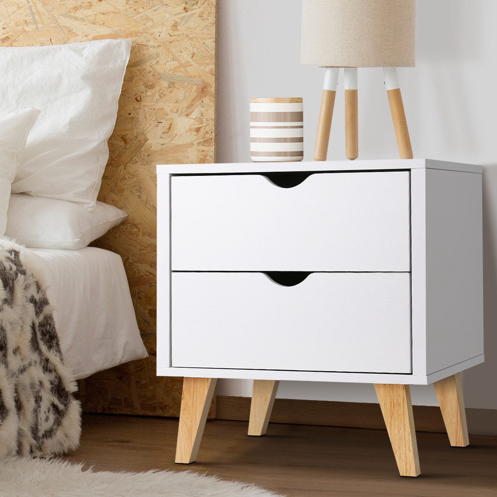 Artiss 2 Drawer Wooden Bedside Tables - White