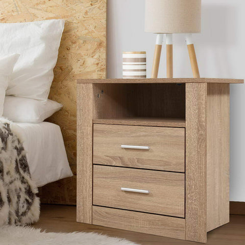 Image of Bedside Tables Drawers Storage Cabinet Shelf Side End Table Oak