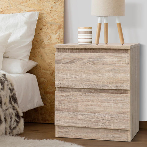 Image of Bedside Tables Drawers Side Table Bedroom Furniture Nightstand Wood Lamp