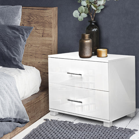 High Gloss Two Drawer Bedside Table - White
