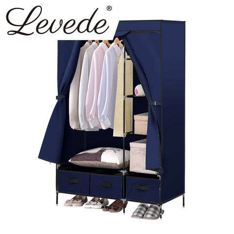 Image of Levede Portable Wardrobe Organiser Clothes Closet Storage Cabinet Navy Blue