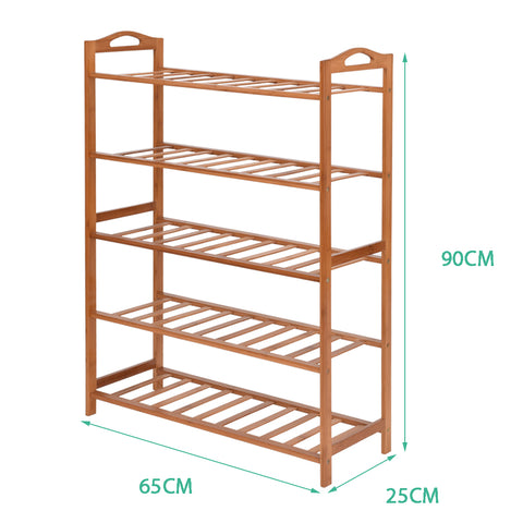 Image of Levede 5 Tiers Bamboo Shoe Rack Storage Organizer Wooden Shelf Stand Shelves