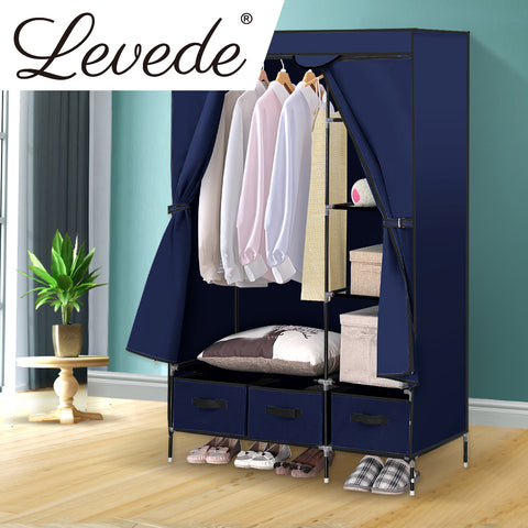 Wardrobe Clothes Storage Organiser - Navy Blue