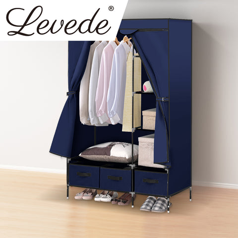 Image of Wardrobe Clothes Storage Organiser - Navy Blue