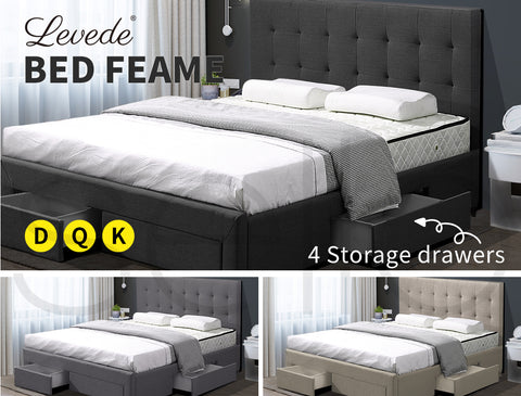 Image of Levede Bed Frame Base With Storage Drawer Mattress Wooden Fabric Queen Dark Grey