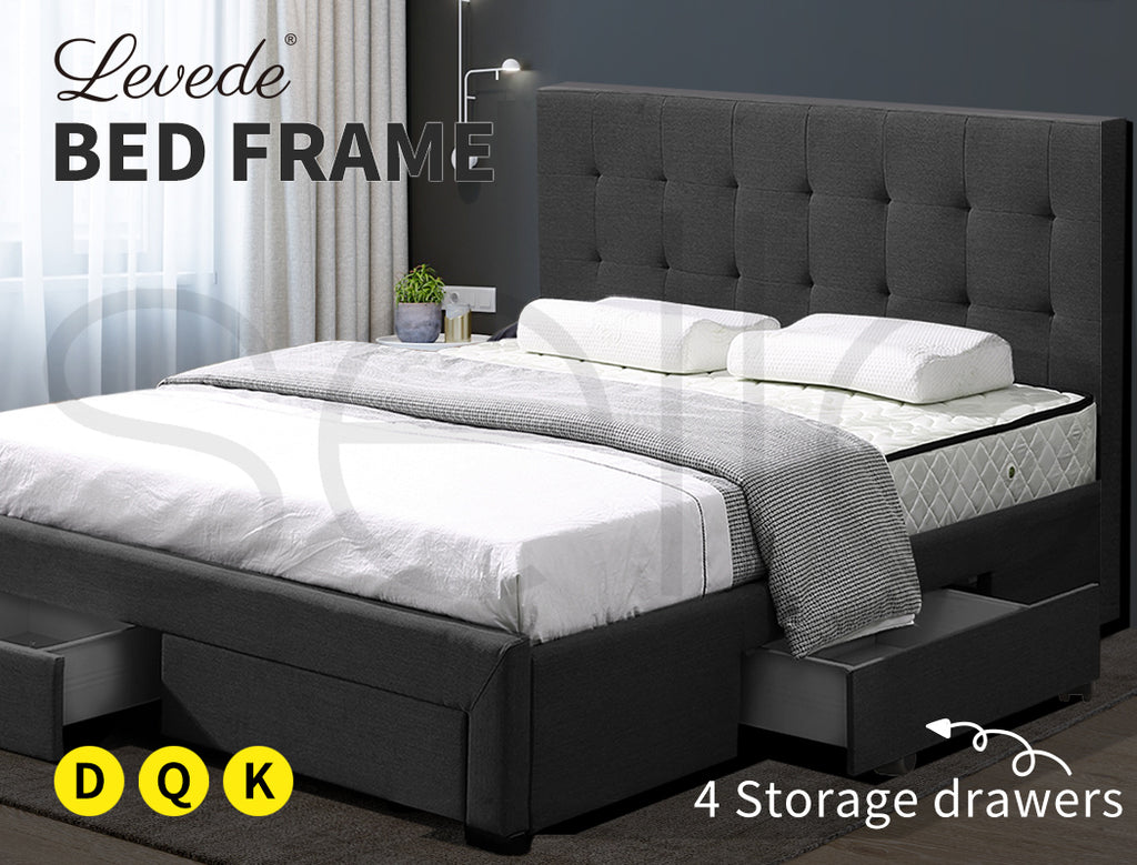 Levede Bed Frame Base With Storage Drawer Mattress Wooden Fabric Queen Dark Grey