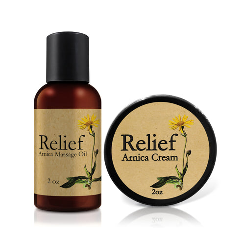 Travel Bundle - Relief Arnica Cream & Massage Oil - (2 oz) -  Limit 1 per customer (household).
