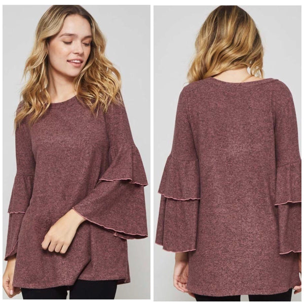 Mauve Ruffled Tunic Top - BohoLocoBoutique