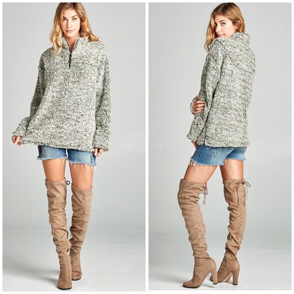 Jade Fuzzy Pullover Sweater - BohoLocoBoutique