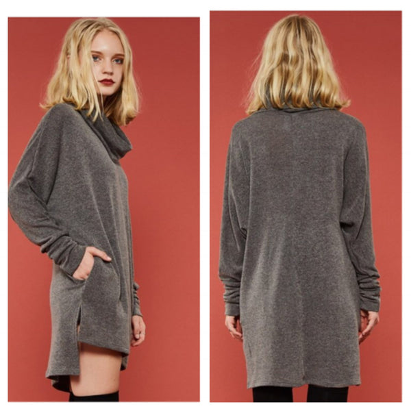 Cowl Neck Cozy Lounge Tunic - BohoLocoBoutique