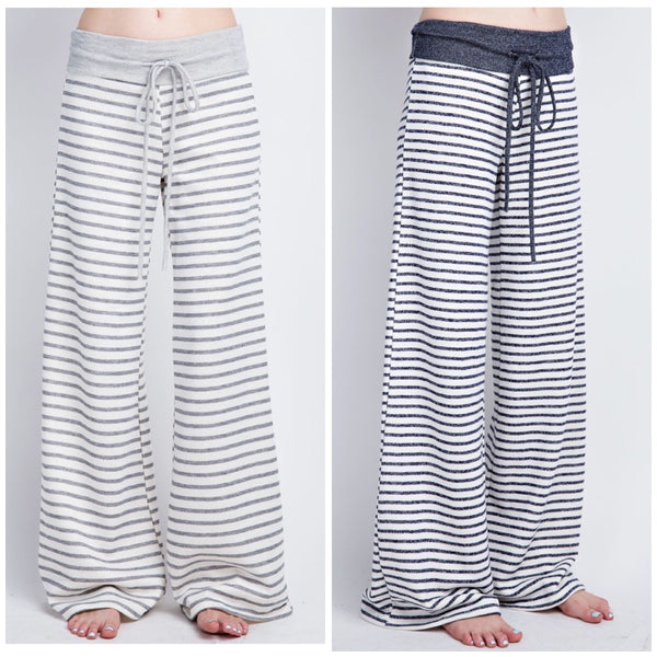 Navy Stripe Lounge Pants - BohoLocoBoutique