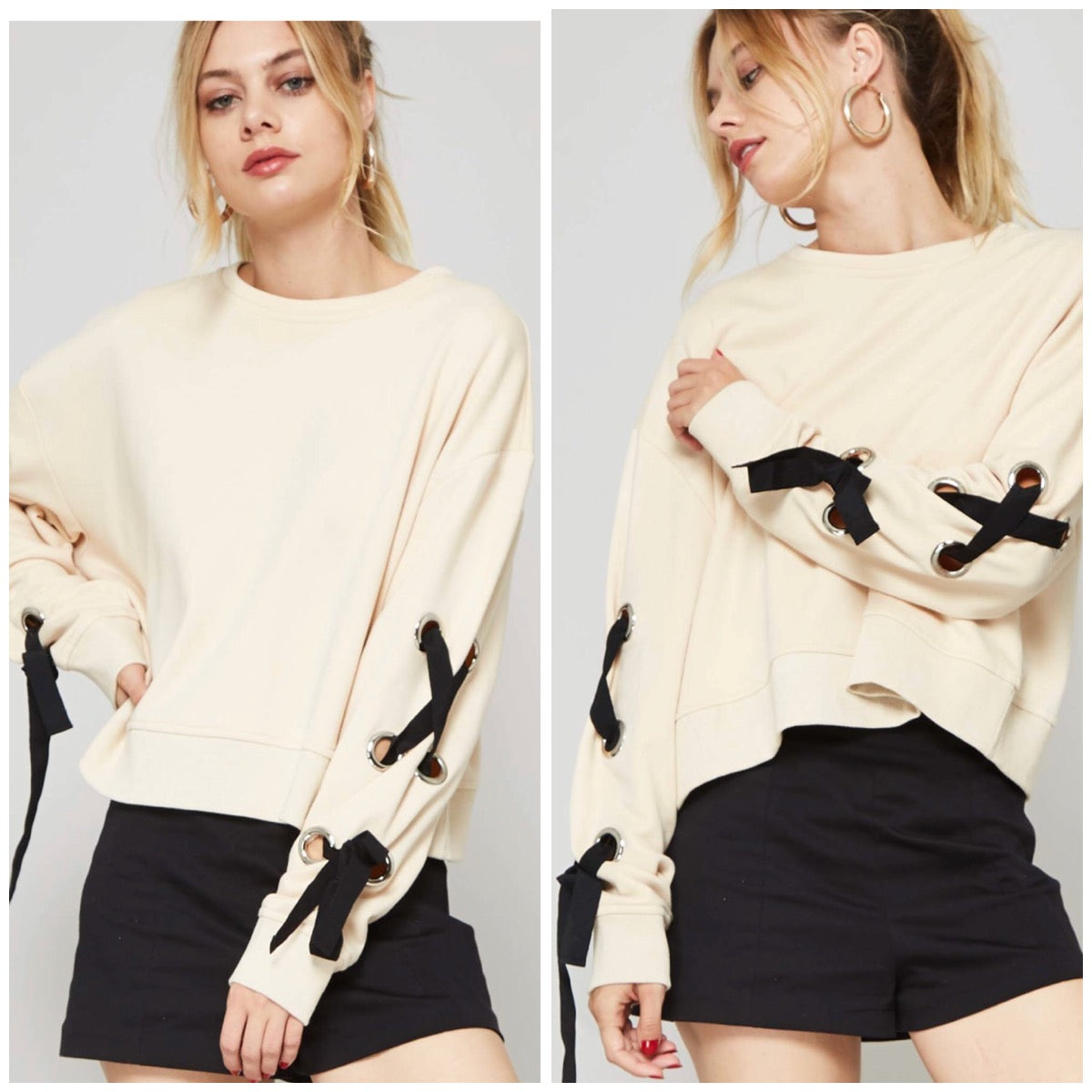 Cross It Tie Pullover - BohoLocoBoutique