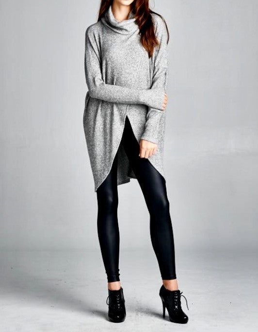 Heather Grey Cowl Turtleneck Tunic Top - BohoLocoBoutique