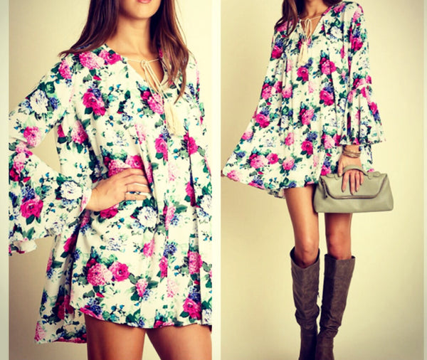 Floral Bell Sleeve Tassel Swing Dress - BohoLocoBoutique