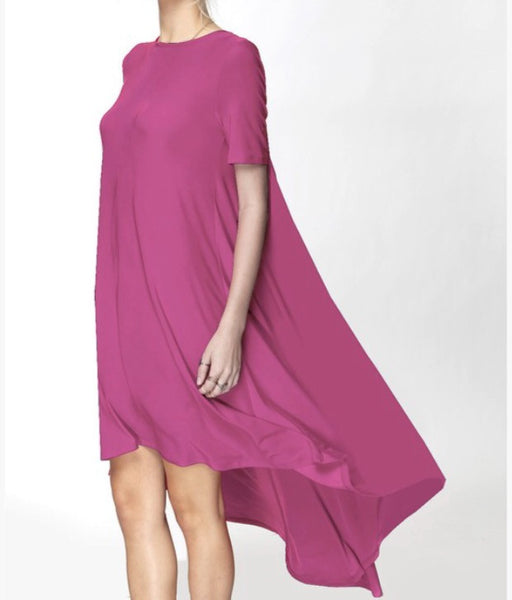 Fuchsia Flyaway Tunic Dress - BohoLocoBoutique