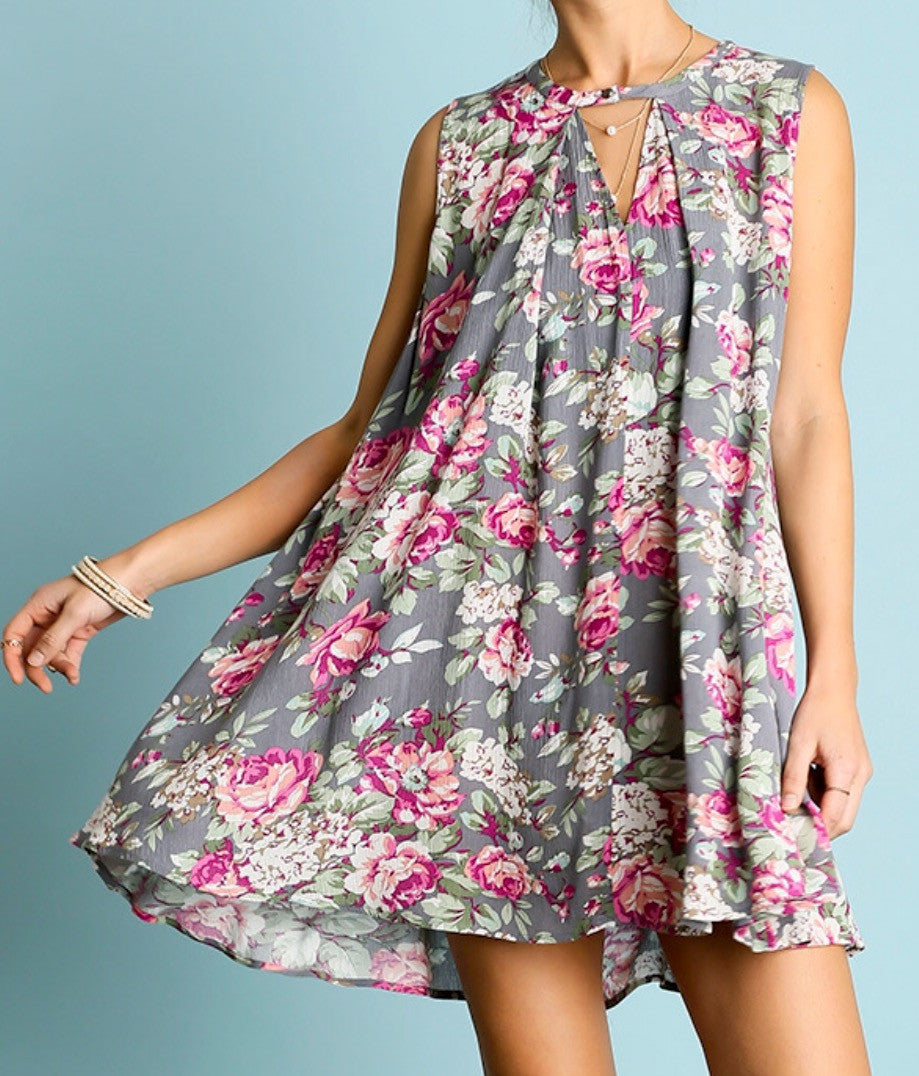 Sleeveless Floral Print Keyhole Swing Tunic Dress - BohoLocoBoutique