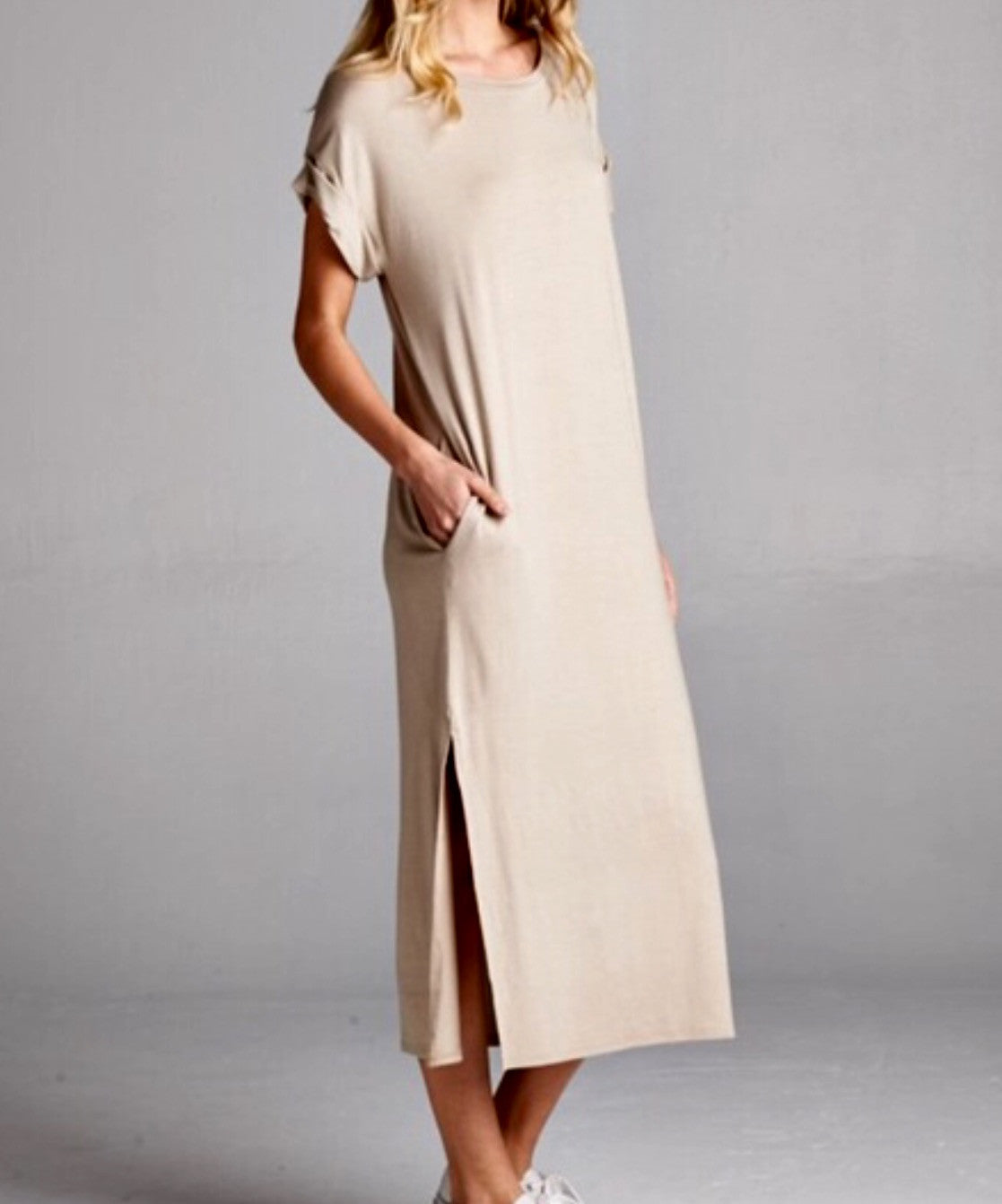 Taupe Short Sleeve Midi Maxi Pocket Dress - BohoLocoBoutique