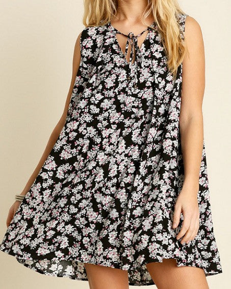 Floral Print Sleeveless Tunic Swing Dress - BohoLocoBoutique