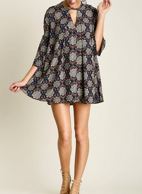 Paisley Print Navy Trapeze Keyhole Swing Tunic Dress - BohoLocoBoutique