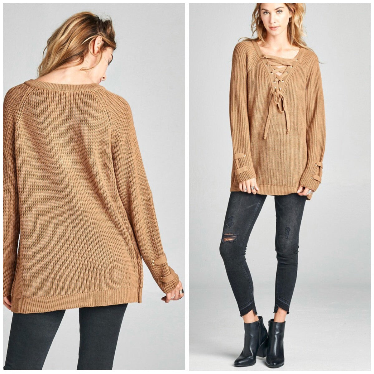 Tan-Der Love Lace Up Sweater - BohoLocoBoutique