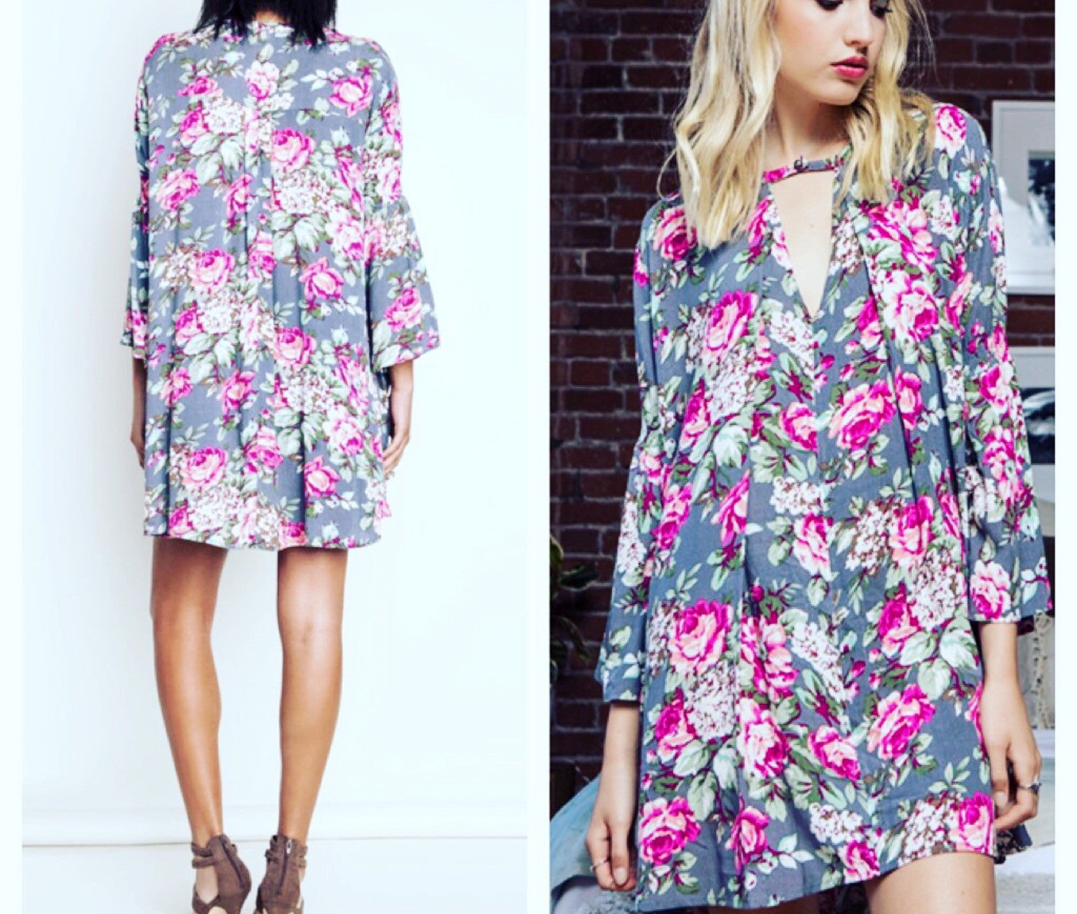 Floral Print Keyhole Swing Dress - BohoLocoBoutique