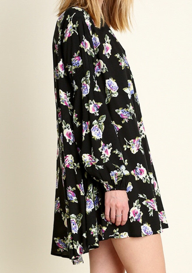 Black Floral Keyhole Swing Tunic Dress - BohoLocoBoutique