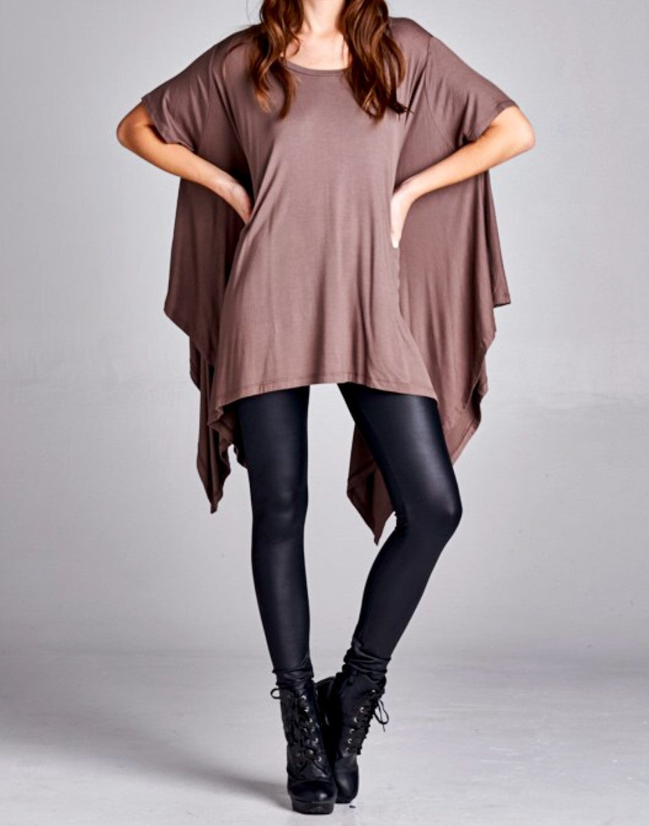 Mocha Cape Flyaway Tunic Dress - BohoLocoBoutique