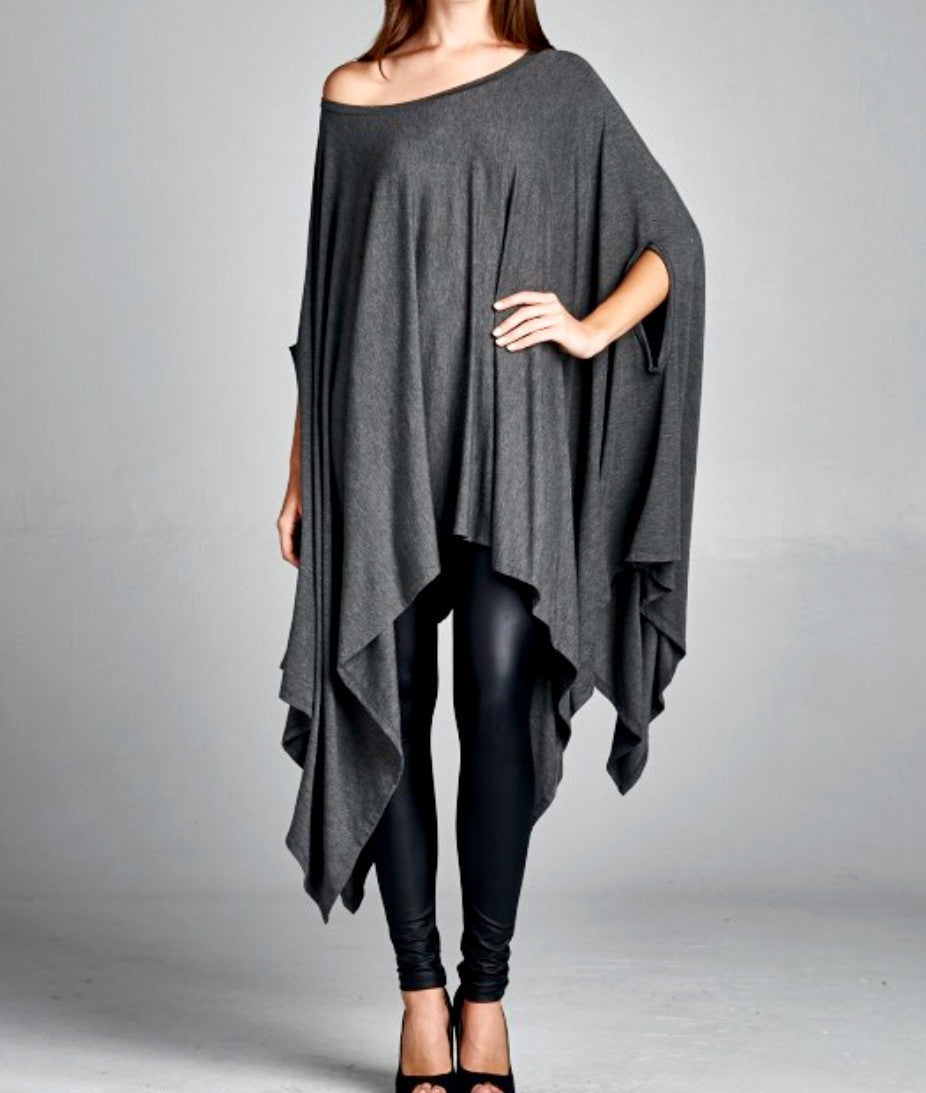 Charcoal Flyaway Cape Dress - BohoLocoBoutique