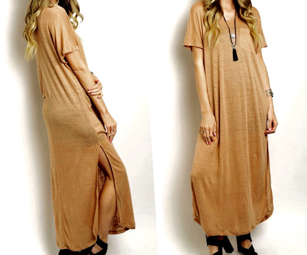 Amber Maxi Tee Dress - BohoLocoBoutique