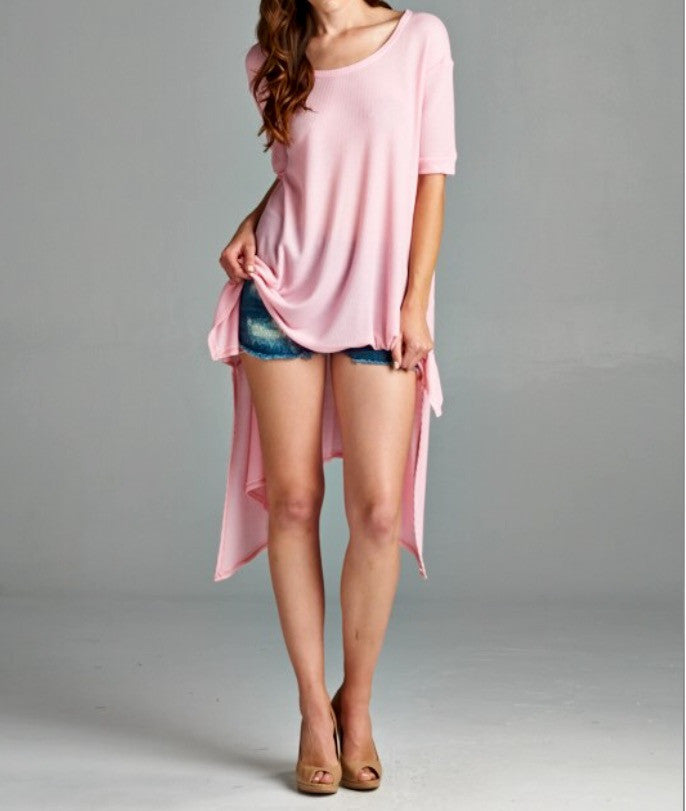 Pink Short Sleeve Tunic - BohoLocoBoutique