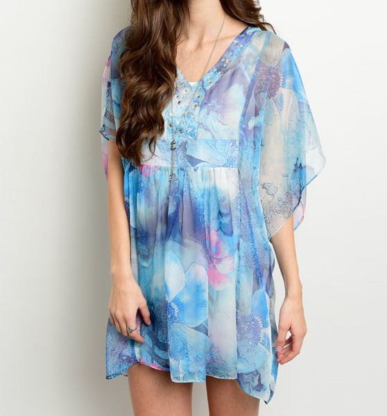 Boho Blue Daydreamer Swirl Kaftan Tunic - BohoLocoBoutique