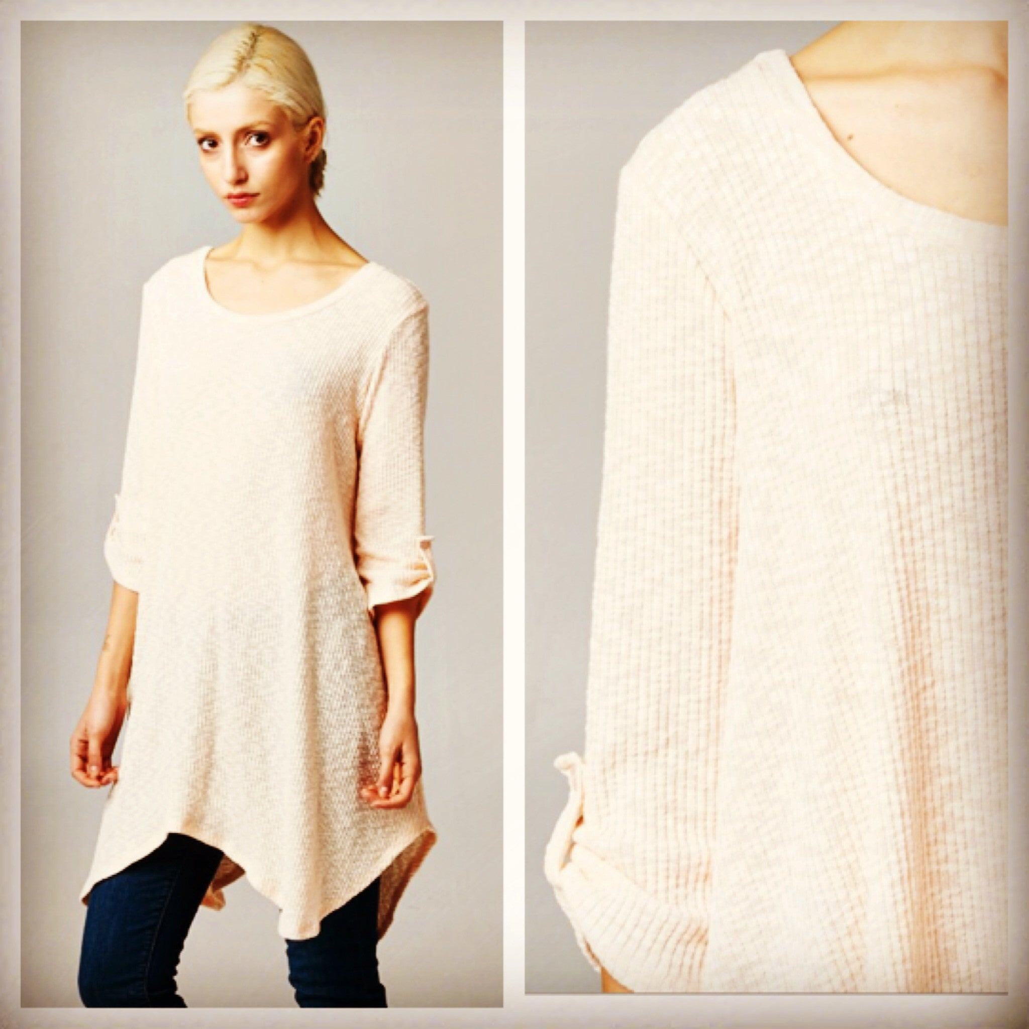 Peach 3/4 Button Sleeve Loose Knit Tunic Top - BohoLocoBoutique