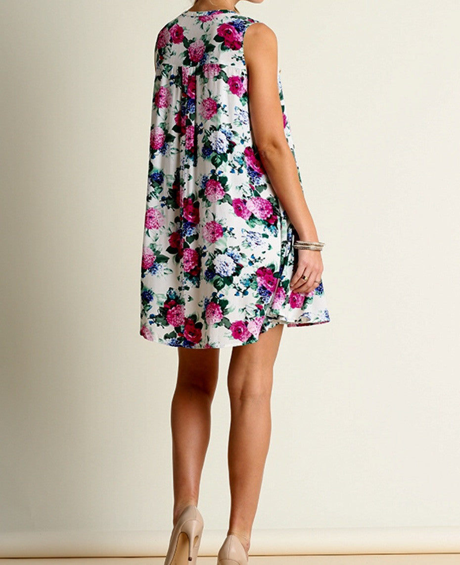 Sleeveless Floral Rope Tie Swing Dress - BohoLocoBoutique