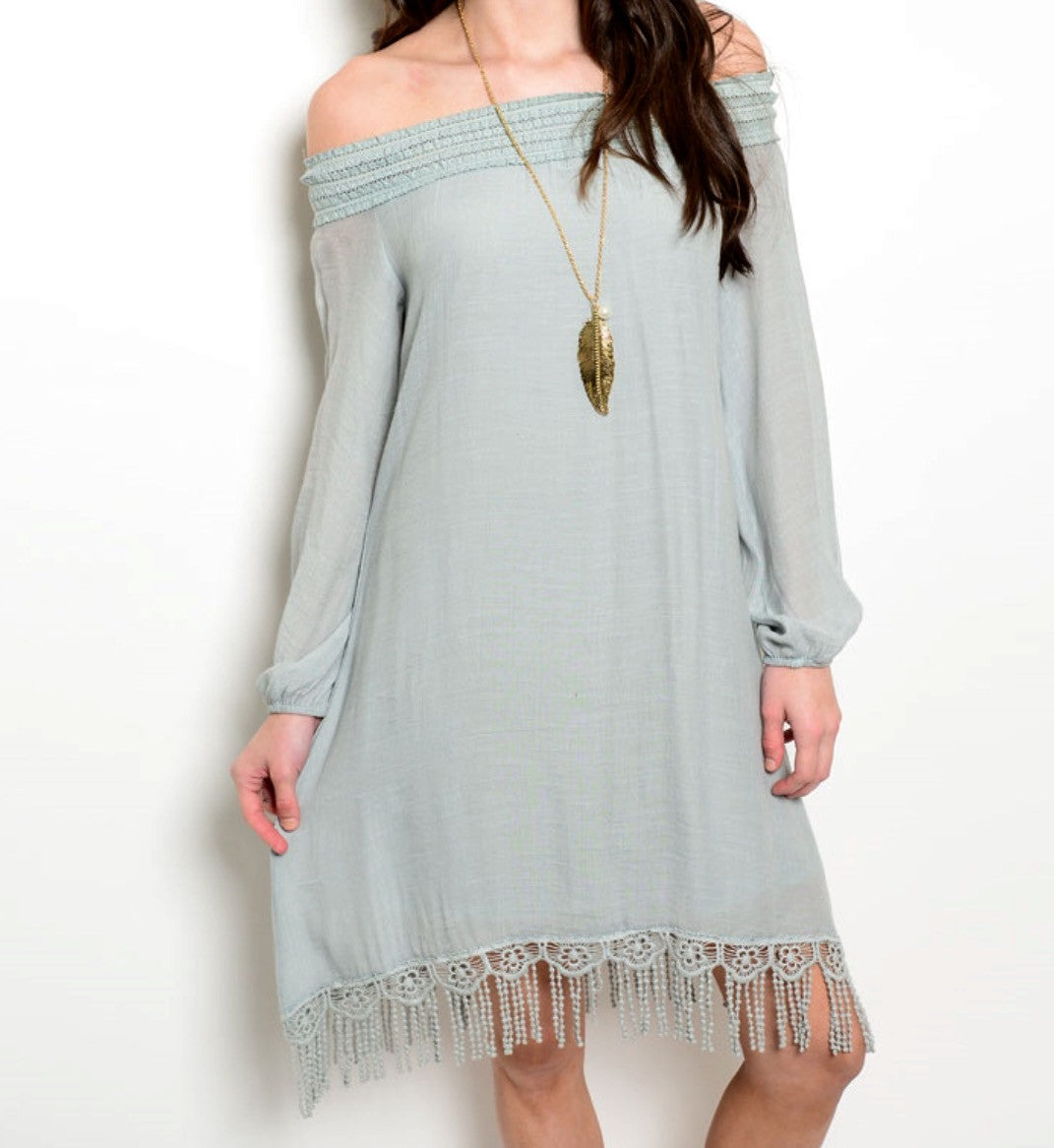 Sage Fringe Cold Shoulder Boho Tunic Dress - BohoLocoBoutique
